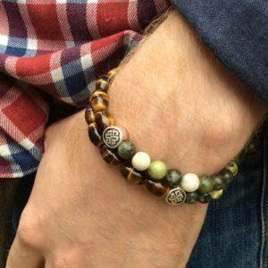 Men/'s women/'s shiny black onyx bead stone bracelet Celtic spiral Newgrange Irish