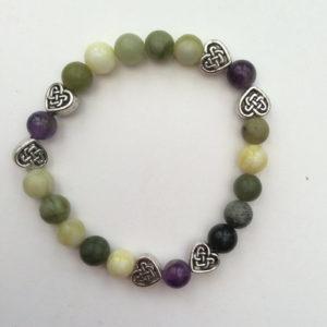 Connemara marble Amethsyt heart bracelet