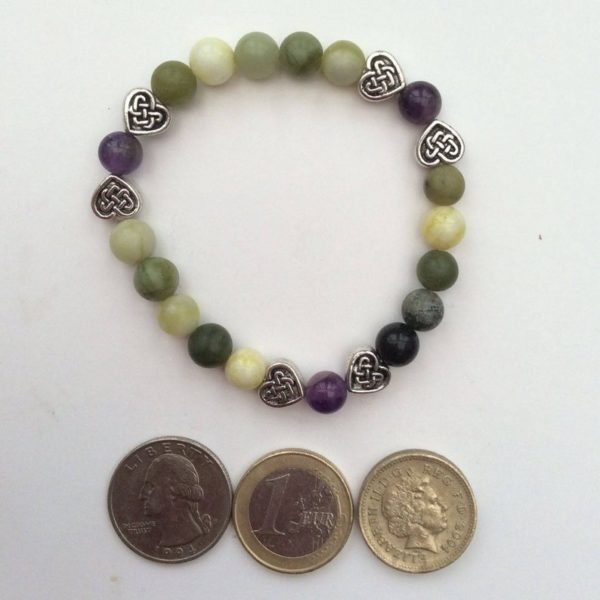 Connemara marble Amethyst heart bracelet