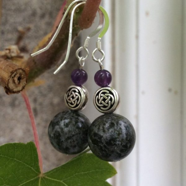 Dark Connemara marble and Amethyst earrings