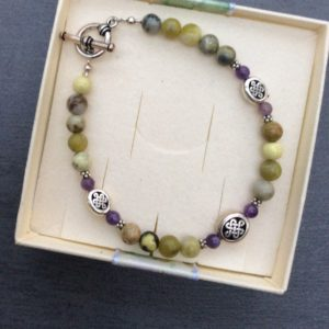 Connemara marble and Amethyst celtic bracelet