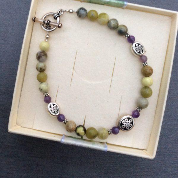 Connemara marble and Amethyst celtic bracelet
