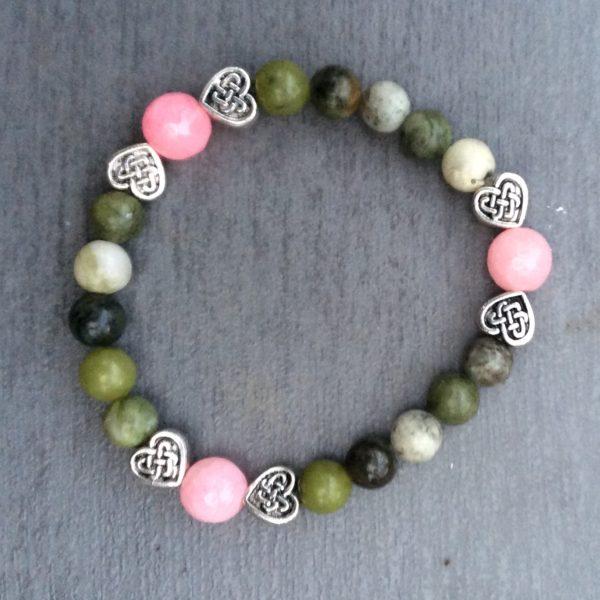 Connemara marble Rose Quartz bracelet