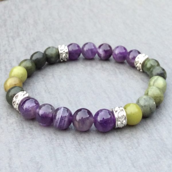 Amethyst and Connemara marble bracelet
