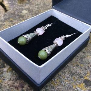 Connemara marble Rose Quartz earrings