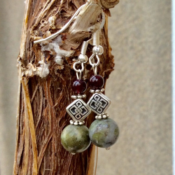 Garnet Celtic Connemara marble earrings