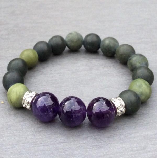Chunky Connemara marble and Amethyst bracelet