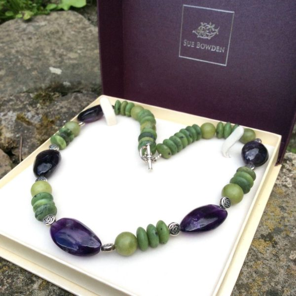 Connemara marble and amethyst necklace