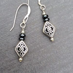 Hematite celtic earrings