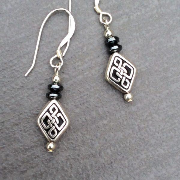 Hematite celtic earrings